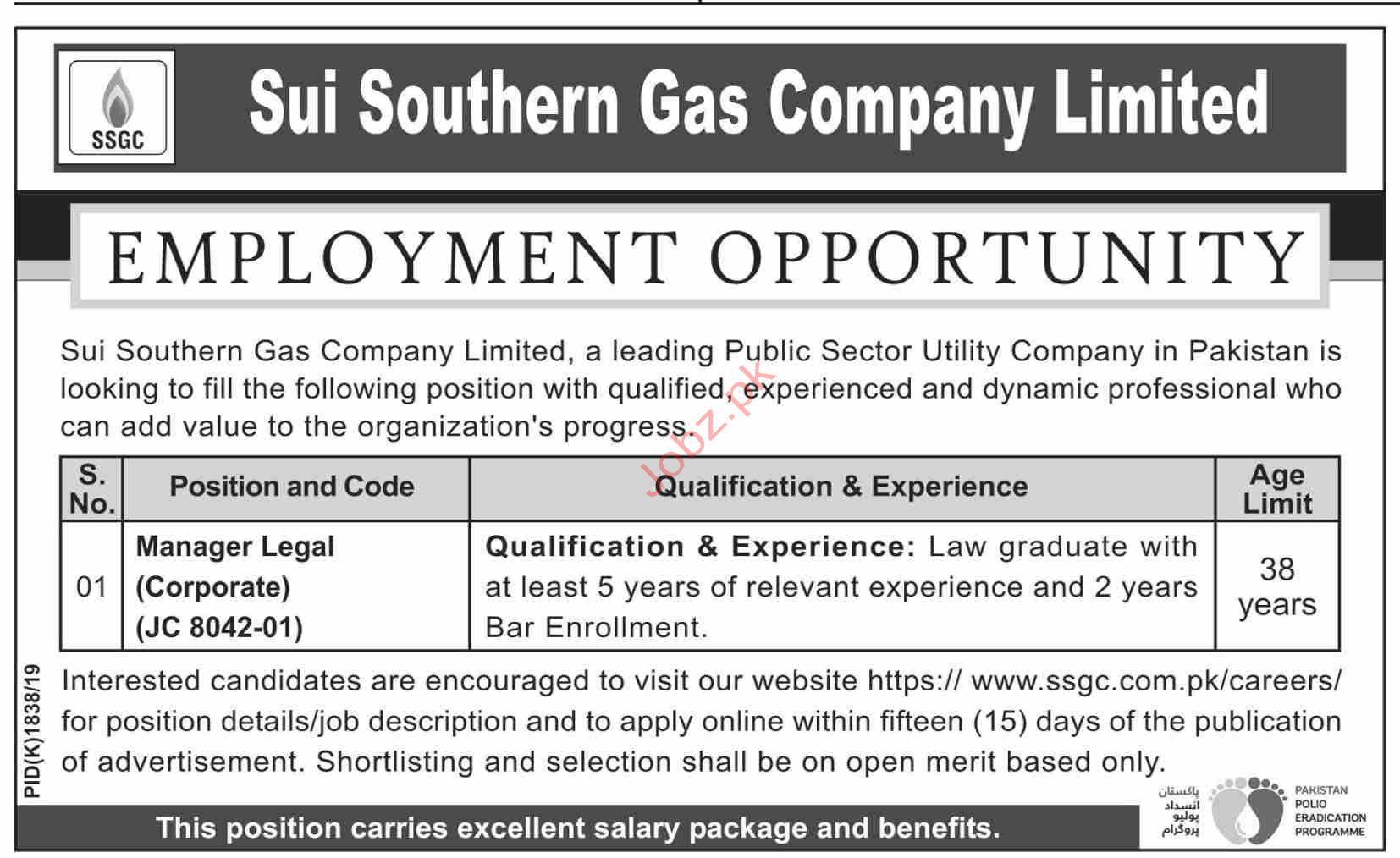 Sui Southern Gas Company Limited SSGC Karachi Jobs