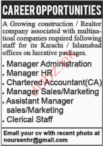 Construction Company Jobs in Islamabad and Karachi
