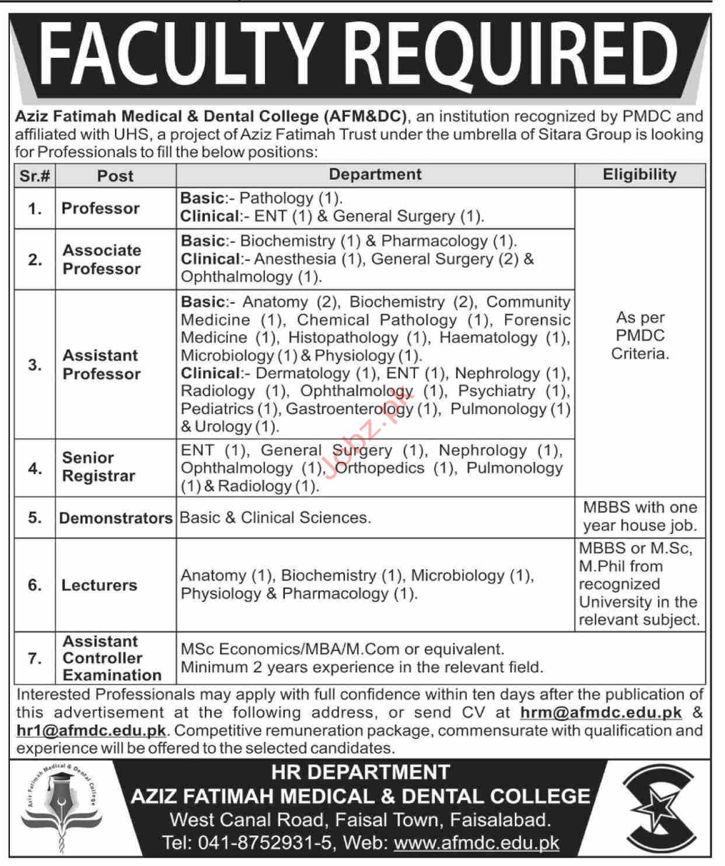 Aziz Fatimah Medical & Dental College AFM&DC Faisalabad Jobs
