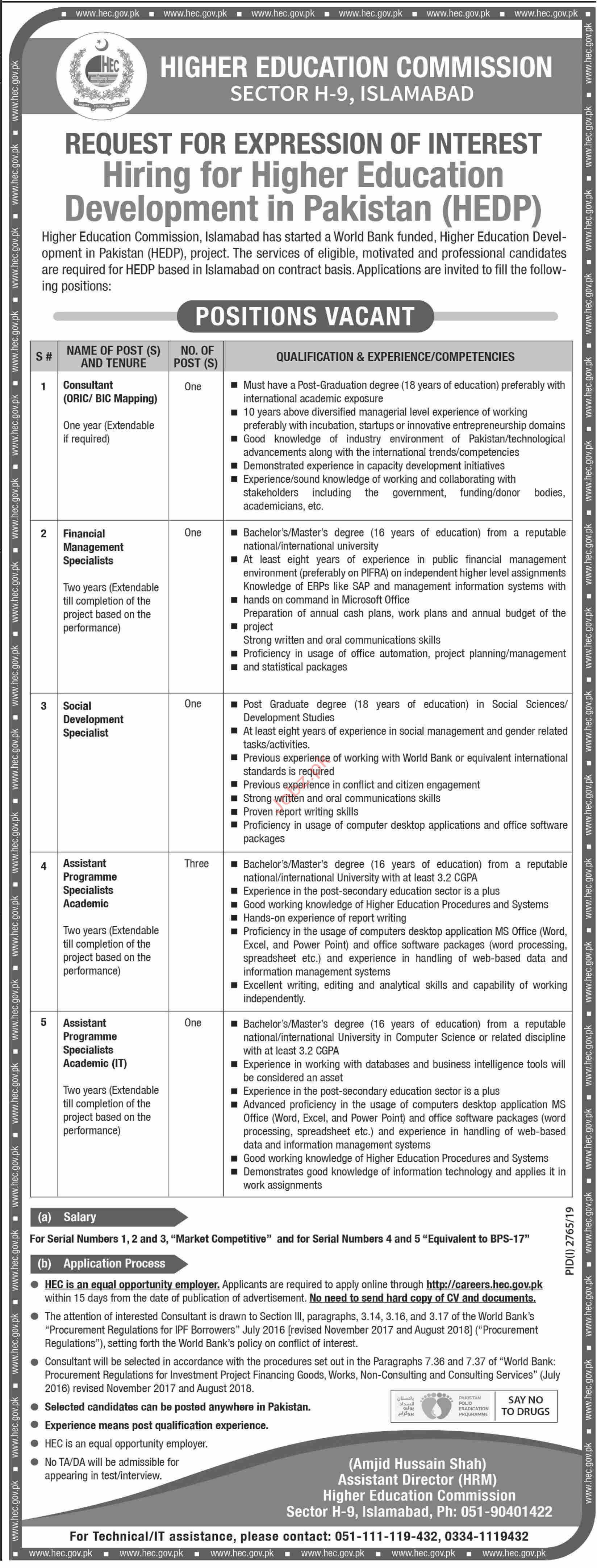 Higher Education Commission HEC HEDP Jobs 2019