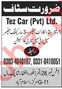 Tez Car Islamabad Jobs for Manager & Accounts Officer