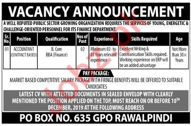 P O Box No 635 GPO Rawalpindi Jobs 2019 for Accountant