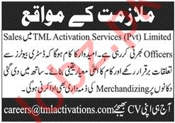 TML Activation Services Islamabad Sales Officers Jobs 2019