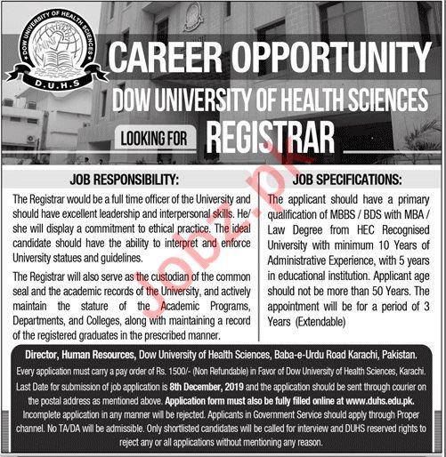 Dow University of Health Sciences DUHS Jobs For Registrar