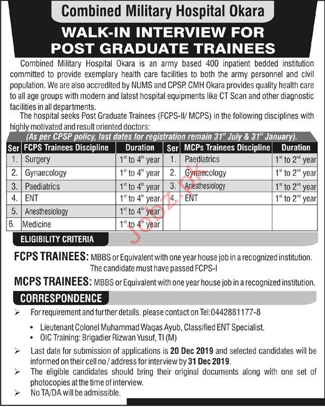 Combined Military Hospital Okara Jobs
