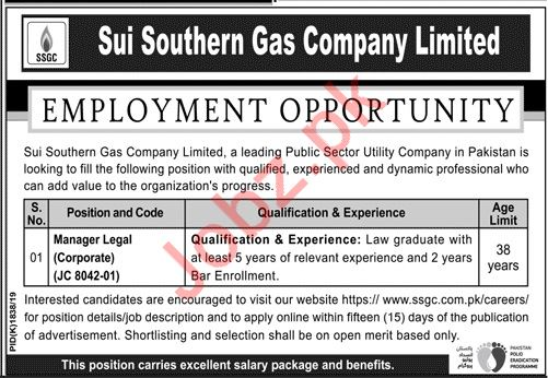 Sui Southern Gas Company Limited Job 2019 in Karachi