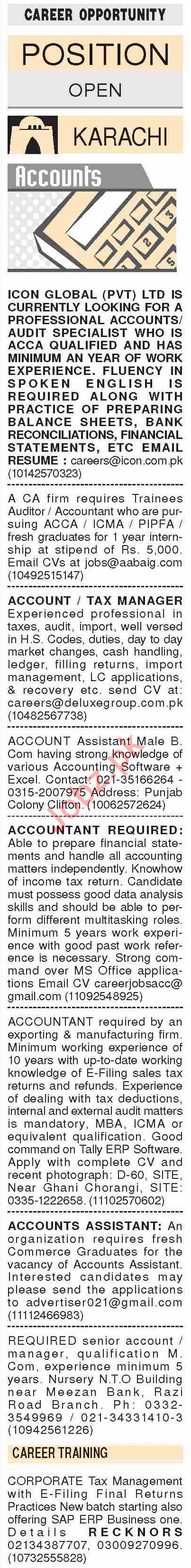 Dawn Sunday Classified Ads 24 Nov 2019 for Accounts Staff