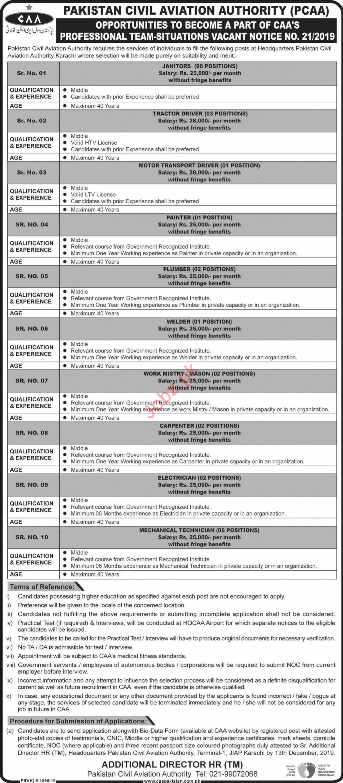Pakistan Civil Aviation Authority PCAA Jobs 2019