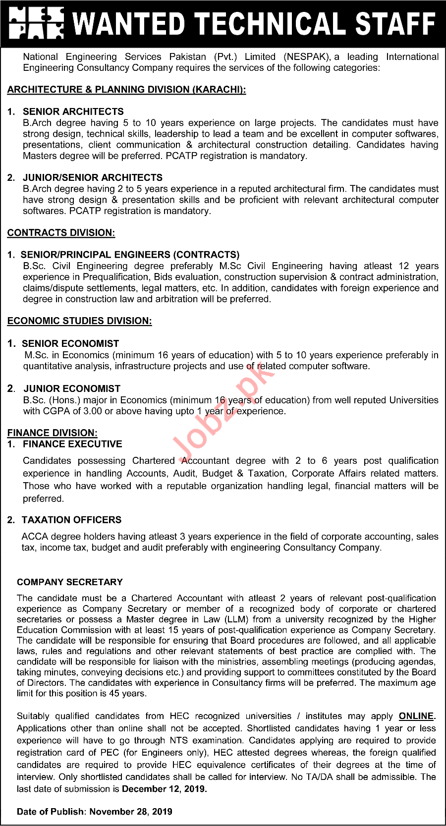 National Engineering Services Pakistan NESPAK Jobs 2019