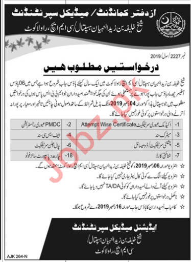 Combined Military Hospital CMH Medical Superintendent Jobs