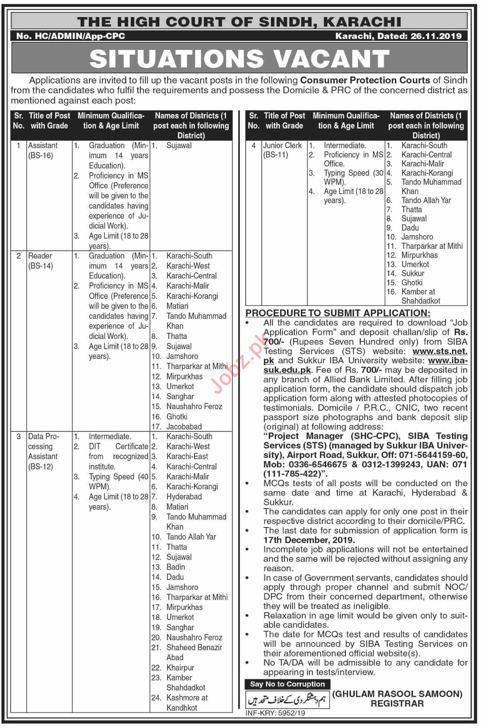 High Court of Sindh Jobs 2019 for Data Processing Assistant