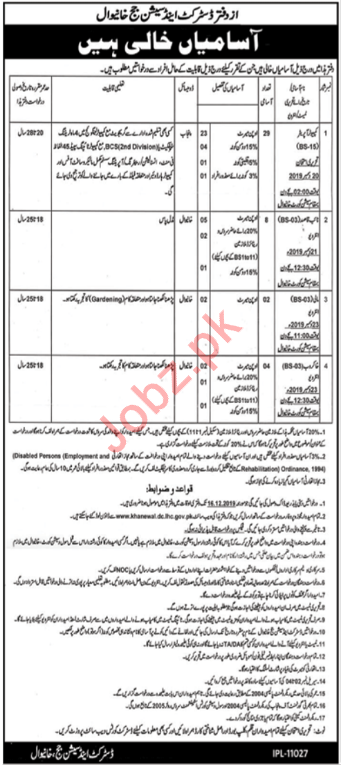 District & Session Judge Office Khanewal Clerical Jobs 2019