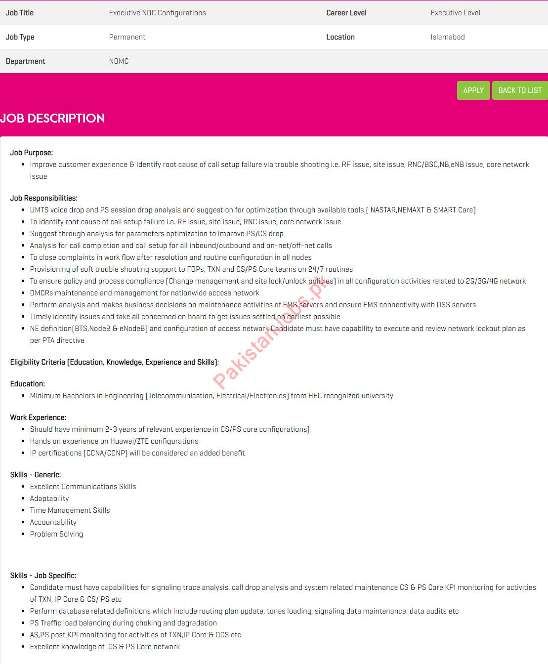 Executive NOC Configurations Jobs in Zong Pakistan