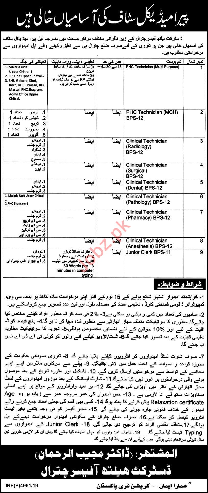 District Health Office Chitral Jobs For Paramedical Staff