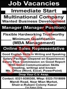Manager & Online Sales Representative Jobs 2019