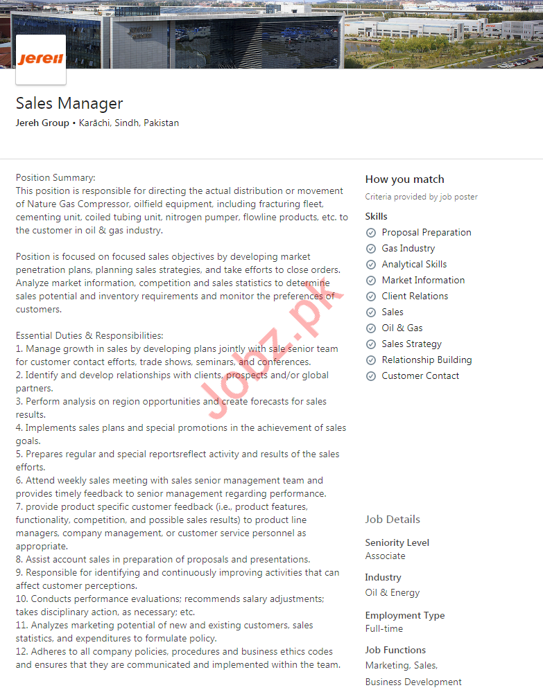 Jereh Group Job For Sales Manager in Karachi
