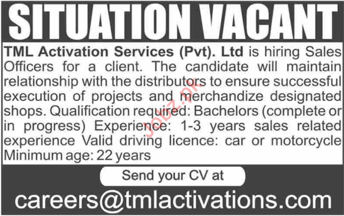 TML Activation Services Private Limited Sales Officer Jobs