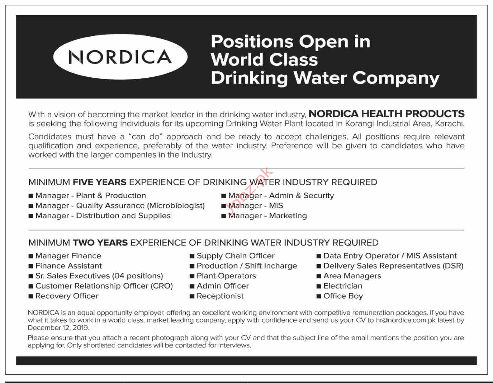 Nordica Drinking Water Company Jobs