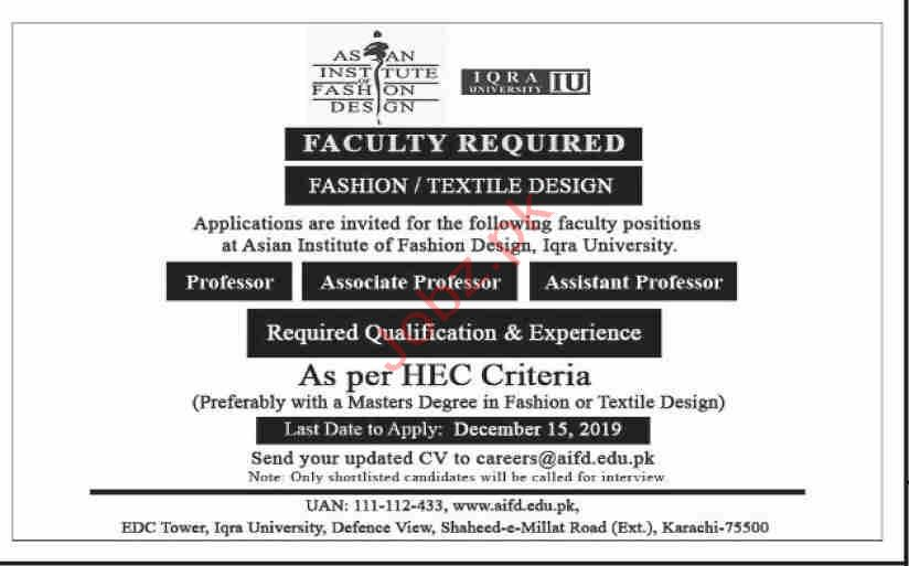Asian Institute Of Fashion Design Iu Karachi Jobs 2020 Job Advertisement Pakistan