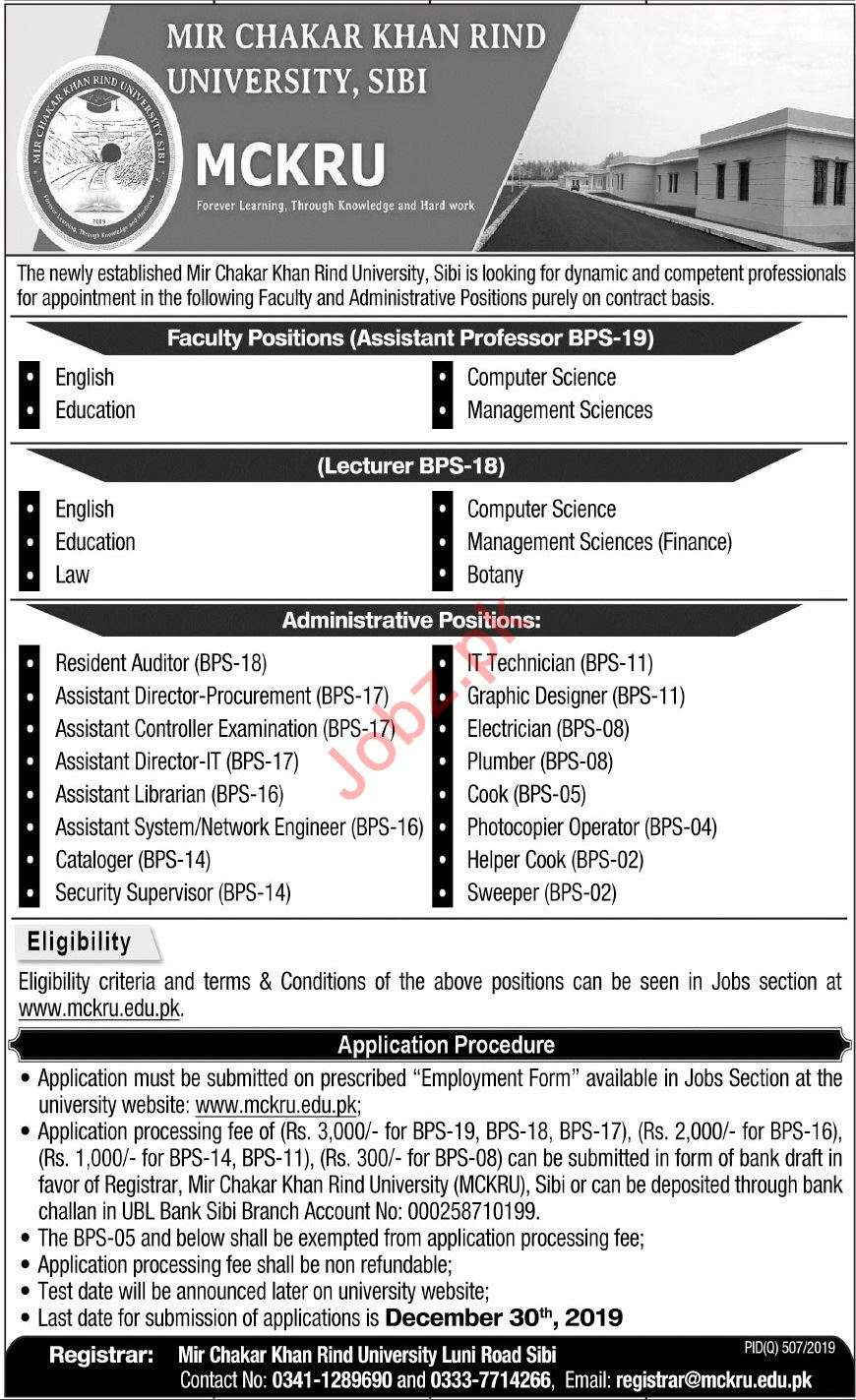 Mir Chakar Khan Rind University MCKRU Jobs 2019
