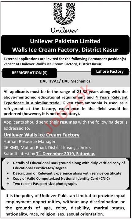 Unilever Walls Ice Cream Factory Jobs Kasur Jobs