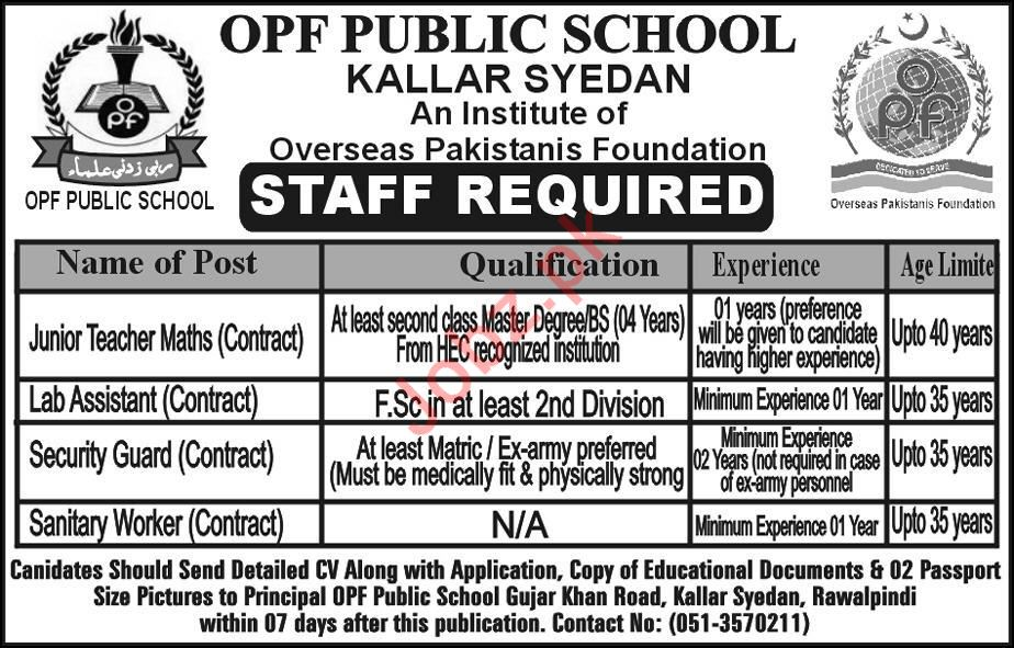 OPF Public School Teaching Staff Jobs 2019