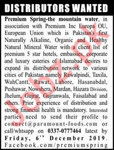 Distributor jobs in Premium Spring the Mountain Water