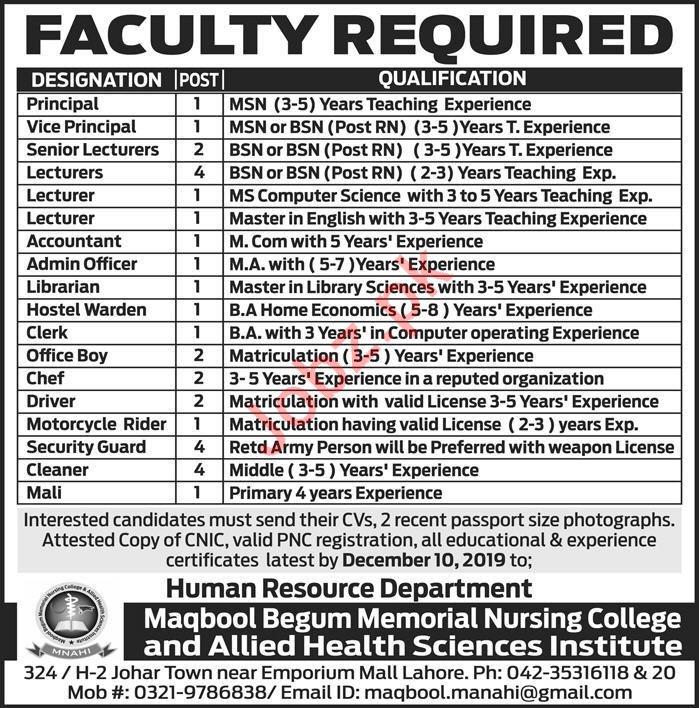 Maqbool Begum Memorial Nursing College Jobs 2019