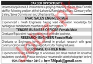 HVAC Sales Engineer & Tender Business Officer Jobs 2019