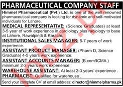 Medical Representative & Institutional Sales Manager Jobs