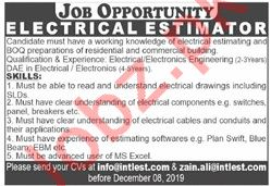Electrical Estimator Job 2019 in Lahore