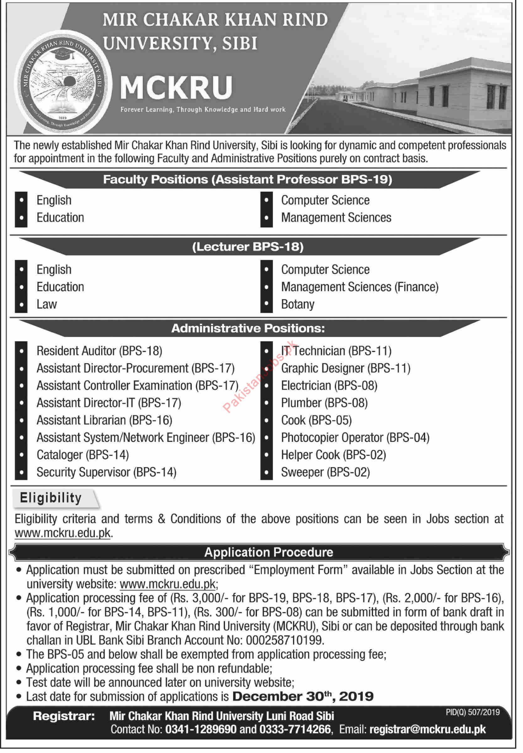 MCKRU University Professor Jobs 2019