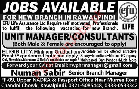 Unit Manager Jobs in EFU Life Assurance Limited