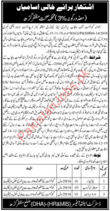 Chowkidar Sweeper & Ward Servant Jobs in Health Department