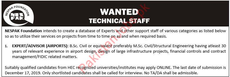 Technical Staff Jobs in NESPAK Foundation