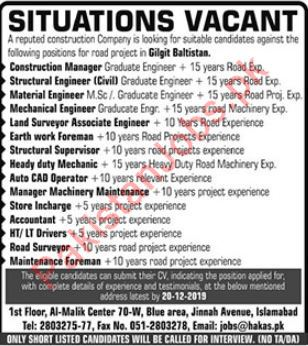 Technical Staff Jobs in Construction Company
