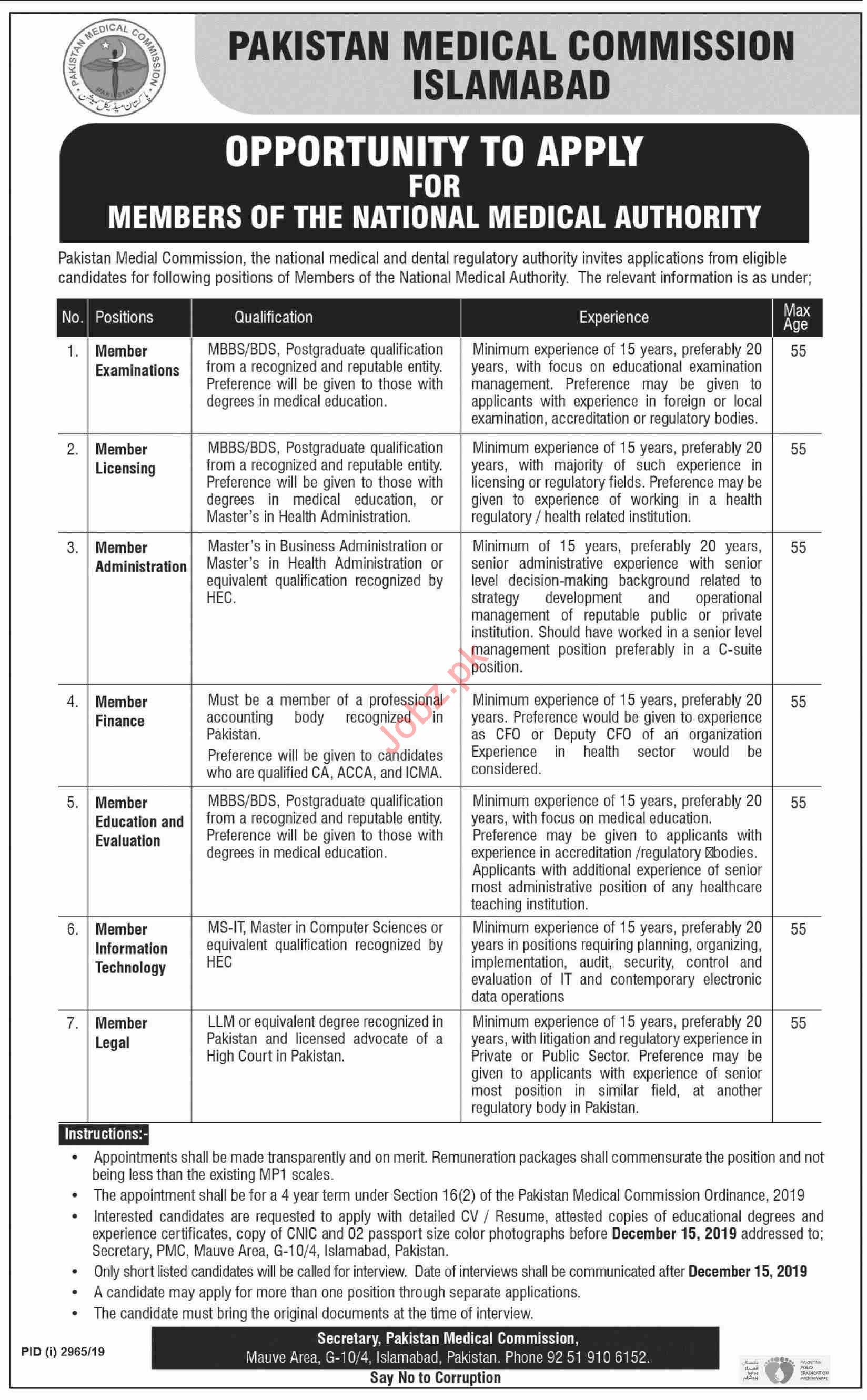 Pakistan Medical Commission PMC Islamabad Jobs 2019