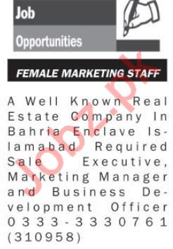 Marketing Staff Jobs in Real Estate Company