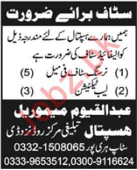 Abdul Qayyum Memorial Hospital Jobs For Haripur KPK