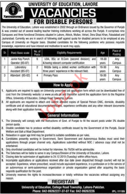 University of Education Lahore Jobs For Disable Persons