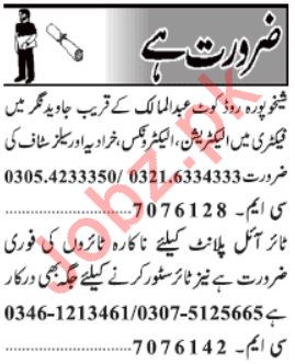 Daily Jang Engineering Staff Jobs 2019 in Lahore