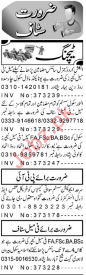 Daily Aaj Newspaper Classified Teaching Ads 2019