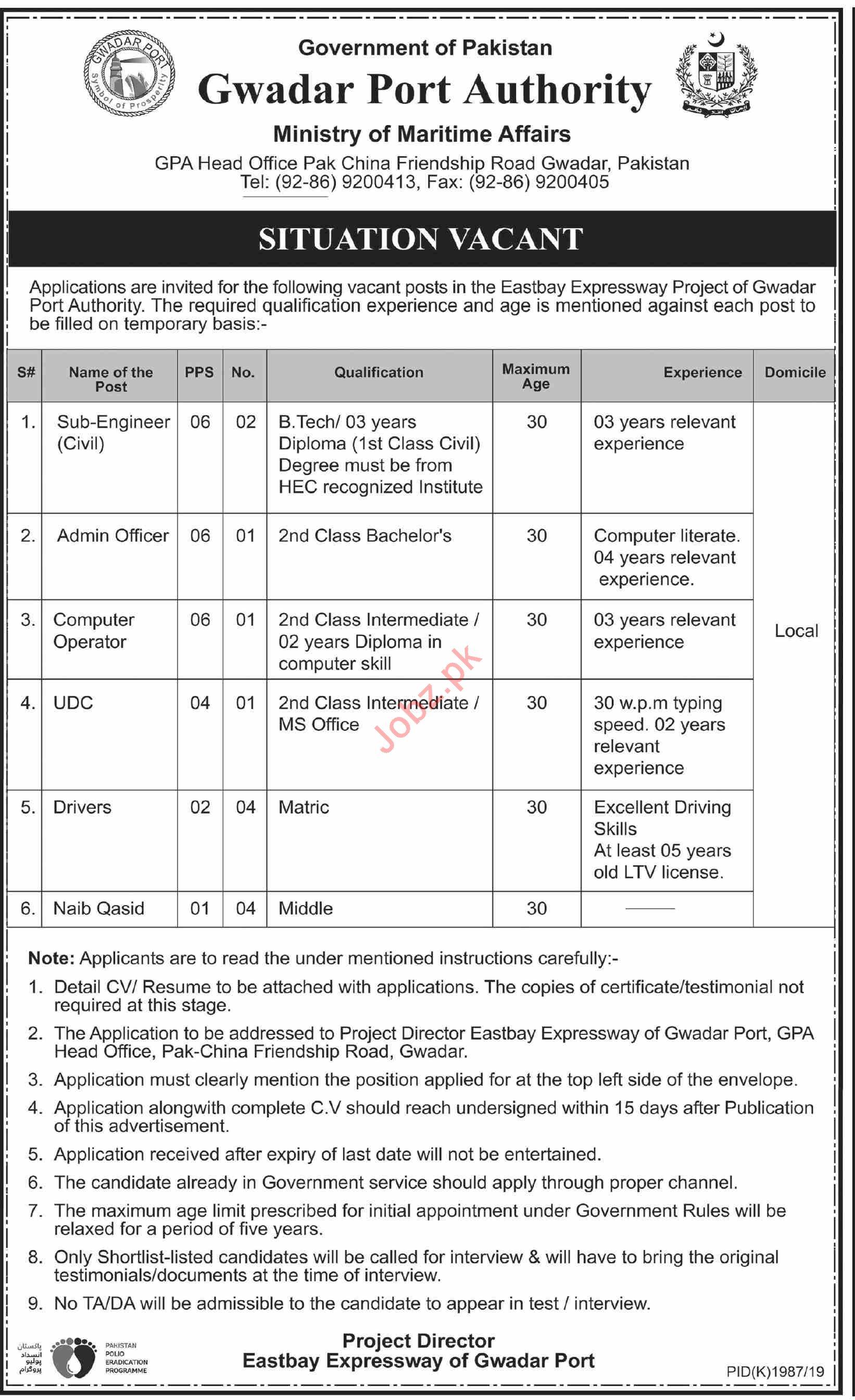Gwadar Port Authority GPA Jobs 2019 for Engineers