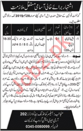 202 Army Aviation Group Quetta Cantt Jobs 2019 for LDC