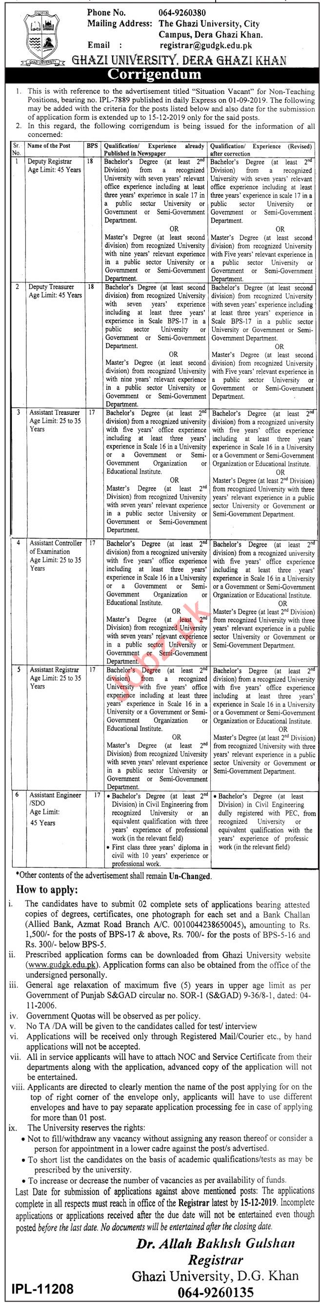 Ghazi University Jobs 2019 in Dera Ghazi DG Khan