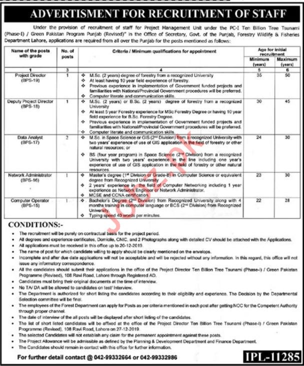 Forestry, Wildlife & Fisheries Department Jobs in Lahore