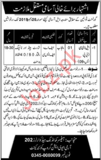 Headquarters 202 Army Aviation Group Quetta Cantt Jobs 2019