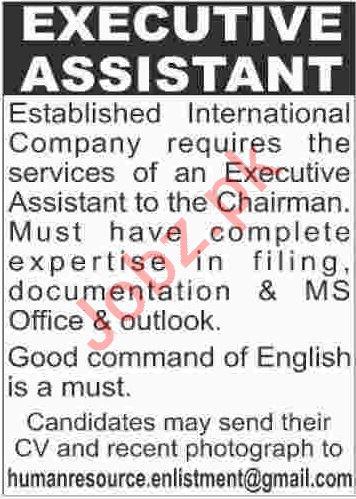 Executive Assistant Jobs 2019 in Karachi