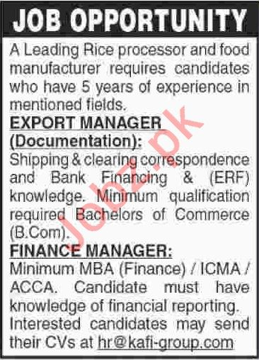 Export Manager & Finance Manager Jobs 2019