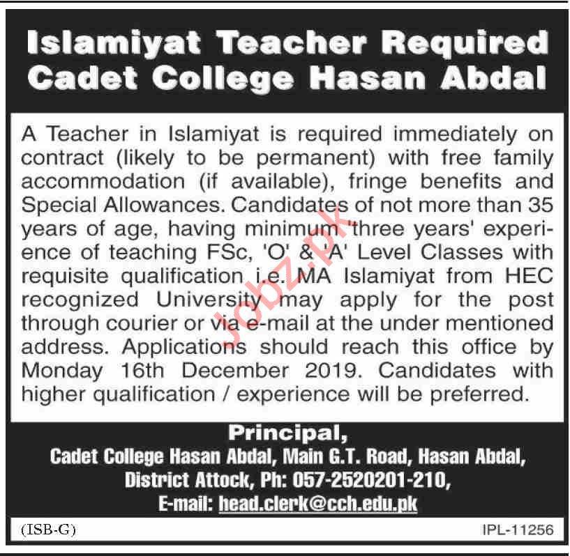 Cadet College Hasan Abdal Jobs 2019 for Teachers